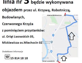 Zmiana trasy linii numer 3
